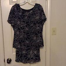 Melissa Harper M black print short sleeve pullover top skirt set