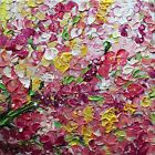 Cherry Blossom Pink White Flowers Spring tree Impasto Oil Painting ORIGINAL ART