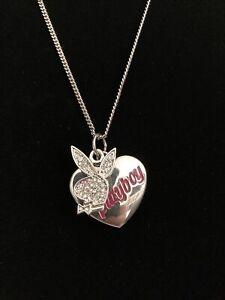 Official 2005 Playboy Rhinestones Bunny Heart Pendant Necklace