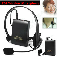 Clip On &head FM Remote Wireless Microphone Mic Receiver Transmitter 20M USB