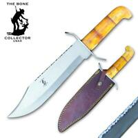 "15"" Bone Collector Jumbo Bowie Bovine Bone Handle Hunting Knife Leather Sheath"