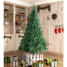 8FT Unlit Artificial Christmas Tree w/Stand Indoor Outdoor Holiday Season PVC