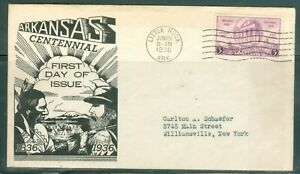 US -FDC.782 ARKANASAS CENTENIAL CANCLE.LITTLE ROCK ARK.JUN.15-1936 ADDR.