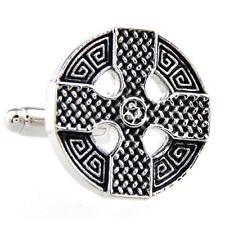 Celtic Cross Cufflinks Wedding Fancy Gift Box & Polishing Cloth