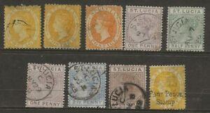 ST LUCIA  SLECTIONOF USED Q.V.  SG 12, 12c, 18, 39, 43/44, 46, 48 & F8 GOOD/FINE