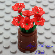 NEW Lego Friends Minifig FLOWER POT BARREL w/Red Pansy Flowers Green Plant Stems