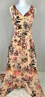 Sundance Floral Midi Dress Asymmetrical Hem Sleeveless Peach Size 2 Festival