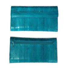 Genuine Eel Skin Leather Woman Long Wallet Trifold Purse