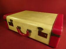 """ANTIQUE VINTAGE 1940s HARD SHELL 21"""" SUITCASE CREAM AND RED NICE!"""