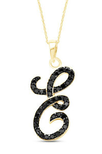 """0.25 CT Black diamond Initial Letter """"E"""" Pendant Nacklace 14K Yellow Gold Over"""