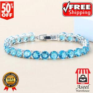 Blue Sapphire 925 Sterling Silver Gemstone Round Chain Tennis Bracelet Woman Men