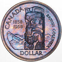 1858-1958 BRITISH COLUMBIA CANADA 1 DOLLAR SILVER UNC STRIKING COLOR TONED (MR
