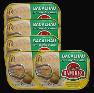 5 Ramirez Portuguese Bacalhau Cod Fish in Olive Oil with Garlic cans 600g 21,oz