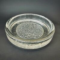 Large heavy textured clear brutalist mid century art glass dish, bowl, ashtray