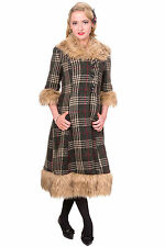 Button Wool Full Length Checked Coats & Jackets for Women