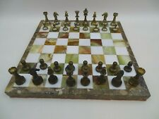 Onyx & Marble Chess Board Metal Chess Pieces Set
