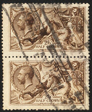 SG 408 2/6d Sepia Brown De La Rue Seahorse N64 (13) pair in VFU condition.