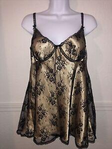 VTG Seductive Wear By Cinema Etoile Lace Chemise Babydoll Negligee XL Sissy Gold