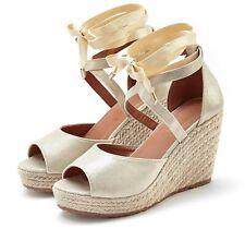 892787 Damen Sandaletten Bast Keilabsatz Espadrilles Wedges Schuhe New Look