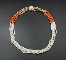"Vintage 14k Yellow Gold Coral Multi Strand Pearl Choker Necklace 16"" NG375"