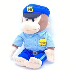 "12"" Curious George Monkey Police Officer in Uniform Plush Toy Rare Clean Gund"