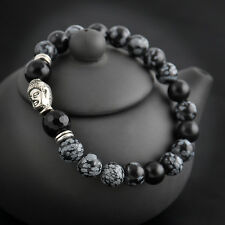 Man Natural White Spot Stone Bead Tibet Silver Buddha Head Lucky Bracelet 8mm HS