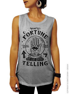 Fortune Teller, Gypsy, Crystal Ball, Vintage, Halloween, Muscle Tee, Gray/Black