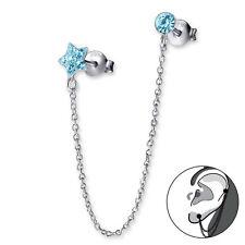 Plata esterlina 925 Azul Cristal única cadena estrella doble pendiente