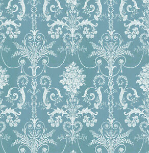 Dolls House Wallpaper 1/12th 1/24th scale Teal Green Quality Paper #281