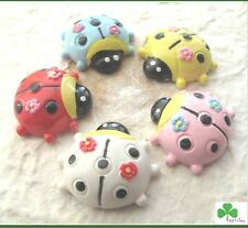 "10 pc x 1"" Hand Painted Resin Ladybug Flatback/Cabochon for Card/Scrapbook SB228"