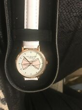 New In Case Ted Baker Womens White Leather Watch & Keyring Set