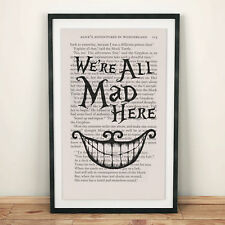 Alice in Wonderland Book Page Art We're all mad here Art Print Quote