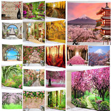 Forest Tree Flower Road Tapestry Scenery Wall Hanging Bedspread Home Decor