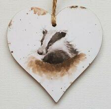 Handmade Wooden Hanging Heart Door Hanger Gorgeous Wrendale Badger Print