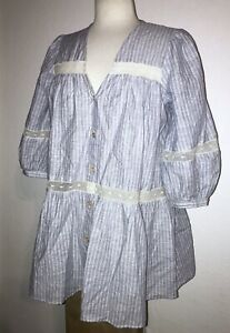 NWT ZARA Blue & White Striped Lace Button Maternity Blouse Top Shirt S / $49.90