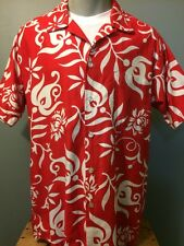 Vtg 50s 60s Hawaiian Aloha Elvis Shirt Mens L-XL Luau Rockabilly VLV Red Cotton