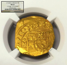 MEXICO 1715 FLEET SHIPWRECK 4 ESCUDOS NGC 62 GOLD DOUBLOON COB COIN ONLY 4 KNOWN