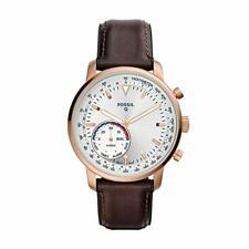 NIB Fossil FTW1172 Men's Hybrid Smartwatch Stainless Steel Watch Leather Strap