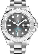 Rolex Yacht-Master 40 Steel & Platinum Rhodium Dial Watch & Box 116622