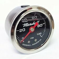 "Marshall Instruments LB00100 Liquid Filled Fuel Pressure Gauge 1.5"" 0-100 PSI"
