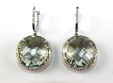 Fine Round Green Amethyst & Diamond Drop Fashion Earrings 14K White Gold 30.52Ct
