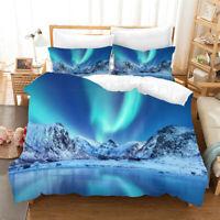 Single/Double/Queen/King Bed Doona/Duvet/Quilt Cover Linen Snow Mountain Aurora