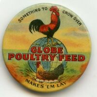 Globe Poultry Feed 1900s Advertising Pinback Promo Ad Pin Button - BJ29