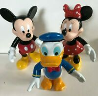 MICKEY, MINNIE MOUSE & DONALD DUCK DISNEY FIGURES HARD PLASTIC OLD TOYS