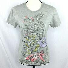 Lucy Brand Womens T-Shirt S Relaxed Fit Gray Floral Short Sleeve Activewear Top