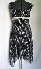 Women's (Size 11/12) MY MICHELLE Black & White Polka-Dot Dress Handkerchief Hem