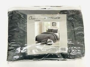 Chezmoi Collection Auburn 3-Piece Modern Quilted Bedspread Set (King, Gray)