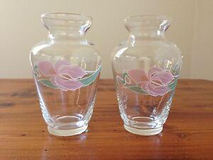 2 Matching Bohemia Crystal bud vases.