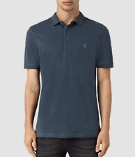 ALLSAINTS WORKERS BLUE  ALTER POLO T-SHIRT TOP - S L XL
