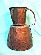 OLDER Solid Copper Pitcher Hammered, RIVETED HANDLE & Dovetailed OLD & HEAVY